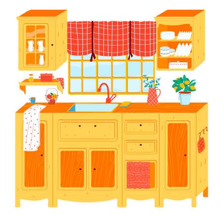 Kitchen interior cartoon style vector illustration. 向量圖像