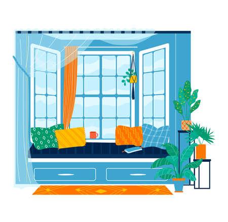 Large windows interior isolated on white, design, flat style vector illustration.