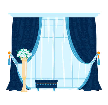 Tulle window interior, curtain decoration isolated on white design, flat style vector illustration. 向量圖像