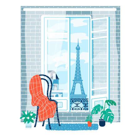 Look interior window paris isolated on white, design, flat style vector illustration.