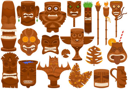 Tiki mask and wooden totem, isolated on white set, vector illustration. Hawaiian tribal traditional element with face, exotic culture collection. 向量圖像