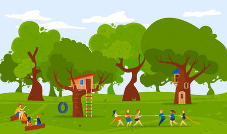 Camp at forest nature, summer outdoor, vector illustration, flat girl boy character play tug-of-war together, children stand near treehouse.