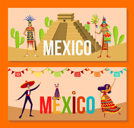 Aztec people and mexico culture set, vector illustration, tribal warrior character stand near pyramid, man in sombrero, woman dance 向量圖像