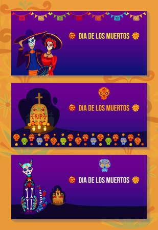 Mexican dead day holiday banner set, vector illustration, halloween in mexico, people man woman character with traditional mask, death celebration 向量圖像
