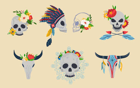 Skull with flower decoration, vector illustration, mexican death symbol, isolated on white skeleton set with war bonnet, dead head with floral crown.