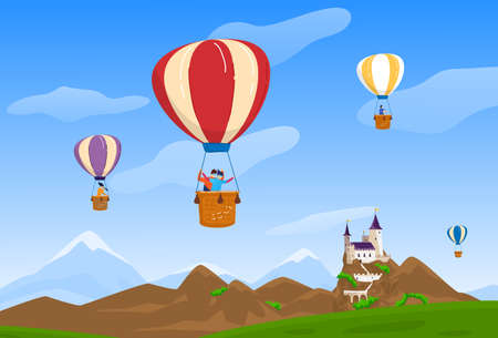 Sky travel, vector illustration, people man woman character at air balloon travel, happy couple fly near castle, nature landscape. 向量圖像