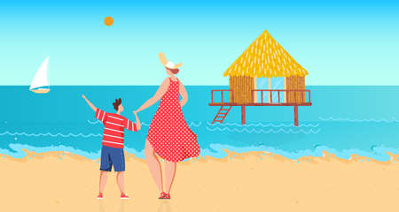 Family near ocean water, vector illustration. Flat woman boy character rest at sea shore, mother son kid at summer vacation, look at stilt house 向量圖像