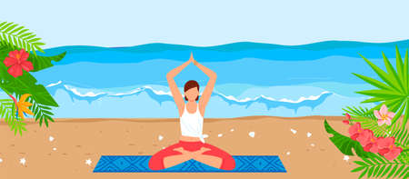 Tropical sea beach for yoga relax, vector illustration, flat young girl character sitting in meditation healthy pose at sand, summer vacation. 向量圖像