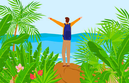 Tourist at beach nature, vector illustration, flat man character at tropical adventure, happy tourism near sea, traveler with backpack 向量圖像