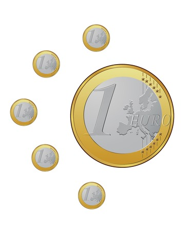 One euro coins on the white background  Stock Vector - 4176783