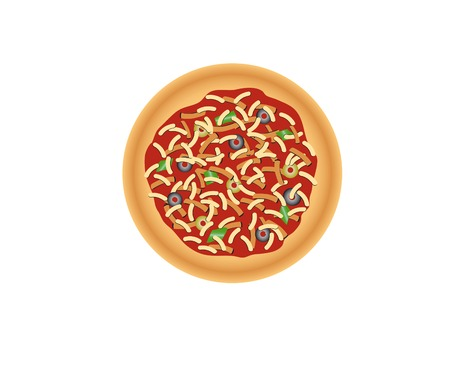 isolated pizza with olives on the white  Vector