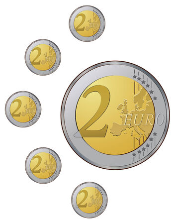 Two euro coins on the white background  VECTOR  Stock Vector - 4176784