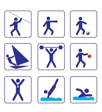 stylize: Eerste sport stiliseren iconen set (vector) Stock Illustratie