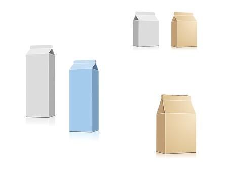 envase de leche: Leche o jugo de contenedores aislados en blanco en el vector