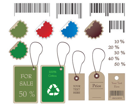 Barcodes, stickers, tally and labels in vector format Stock Vector - 4294148