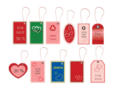tally: Tally and labels with valentines shapes in vector