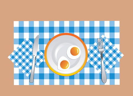 appetizing fried eggs on the plate in vector format Vector