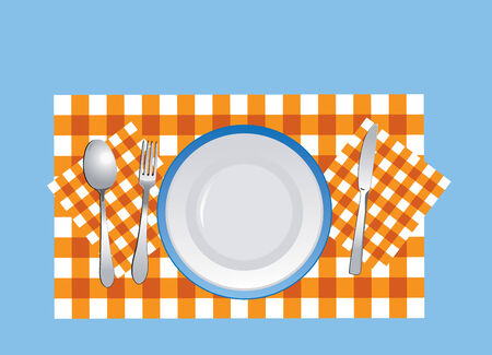 flatware: Flatware and plate on the tablecloth in vector format
