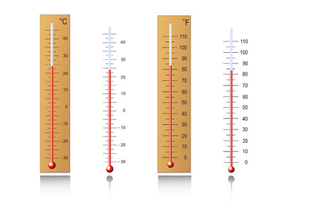 high temperatures: Thermometers for measuring temperature in vector format