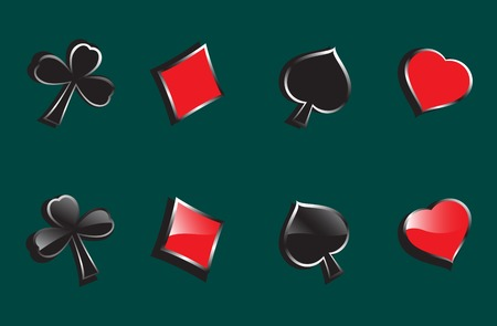 Glossy symbols of playing cards on the background Vector