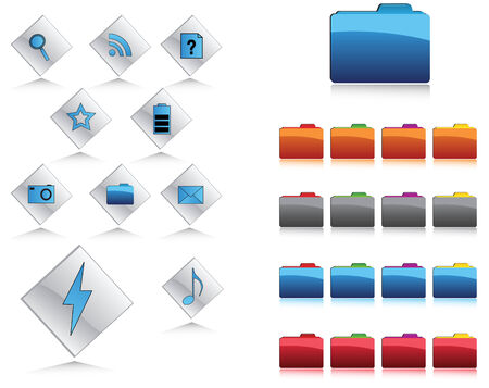 Icons and buttons in web 2.0 style Vector