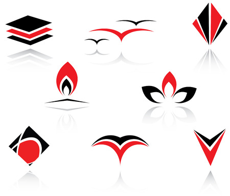 Set of red and black symbols for branding Vector