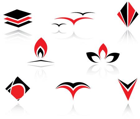 Set of red and black symbols for branding Illustration