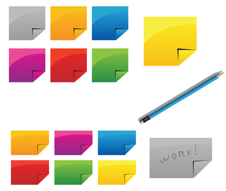 Colorful stickers and pencil on the white Vector