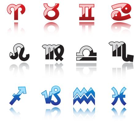zodiacal symbol: Glossy symbols of horoscope with shadow on white Illustration