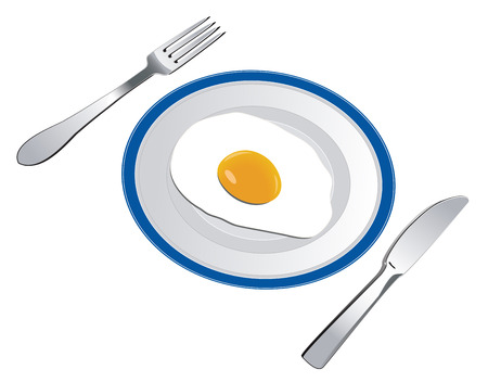 appetizing fried egg on the plate in cafe Vector