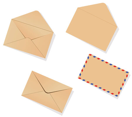 avia: Four different envelopes with shadow on the white