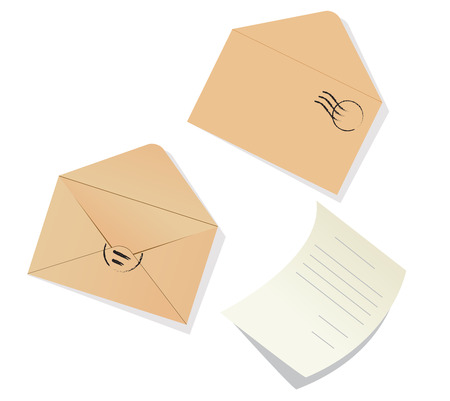 letter envelope: Letter and envelopes on the white background Illustration
