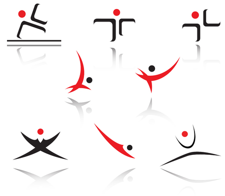 Set of red and black sport symbols Stock Vector - 4461948