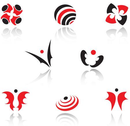 elipse: Conjunto de s�mbolos de color rojo y negro Vectores
