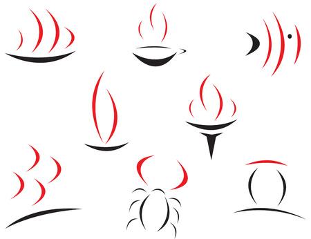 pez vela: Conjunto de s�mbolos de color rojo y negro Vectores