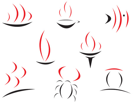 Set of red and black symbols Vector