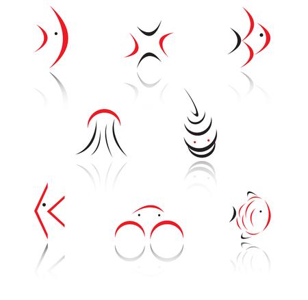 logo poisson: Ensemble de signes rouges et noirs