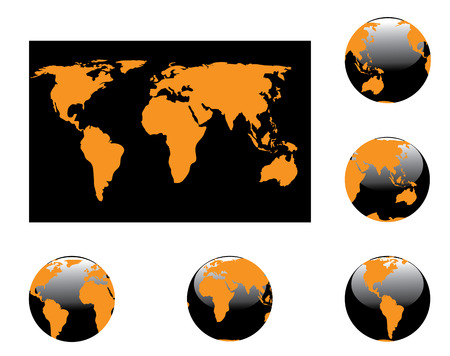 Orange map and globes on the white Vector