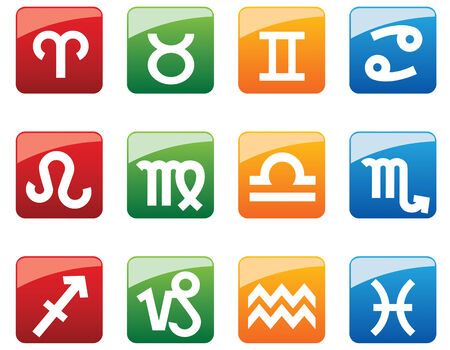 Glossy symbols of horoscope on web buttons Stock Vector - 4482399
