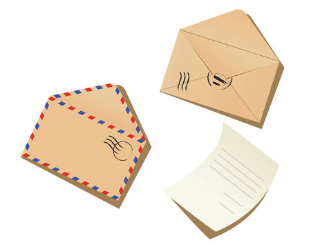 Letter and envelopes on the white background Stock Vector - 4482420