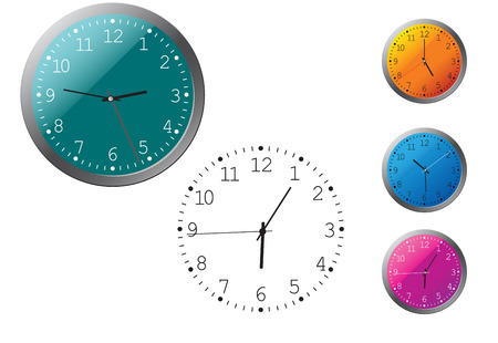 ticking: Office clocks and dial isolated on white Illustration