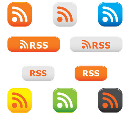 Glossy rss buttons and symbols on the white Stock Vector - 4482401