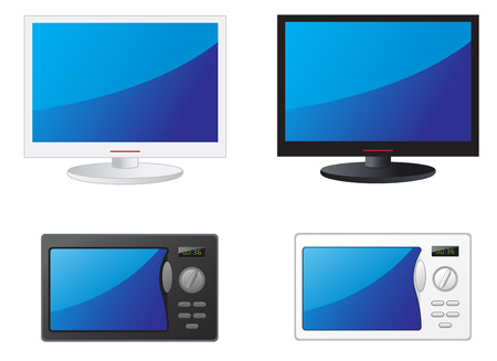 Modern black and white TV and microwave Vector