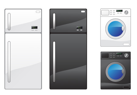 Modern refrigerator and washing machine on the white