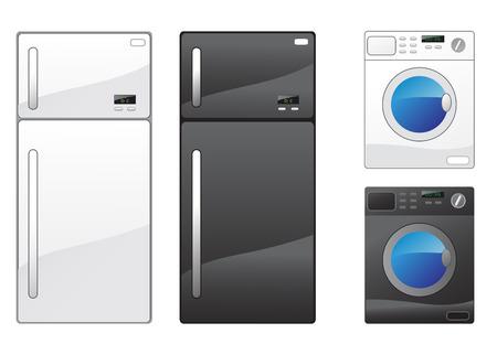 cocina limpieza: Moderno frigor�fico y lavadora en el blanco Vectores