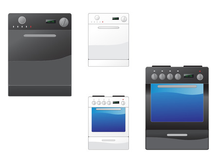 Modern stove and dishwasher on the white