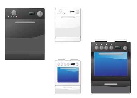 cocina limpieza: Moderna estufa y lavaplatos en el blanco Vectores