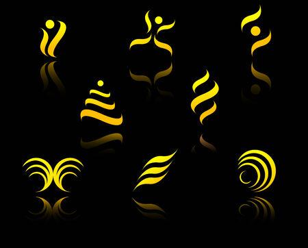 Set of golden symbols on black with reflection