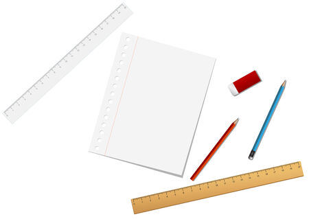 School and stationary tools isolated on the white Stock Vector - 4580115