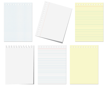 papeles oficina: Aislados de las p�ginas del bloc de notas en blanco Vectores